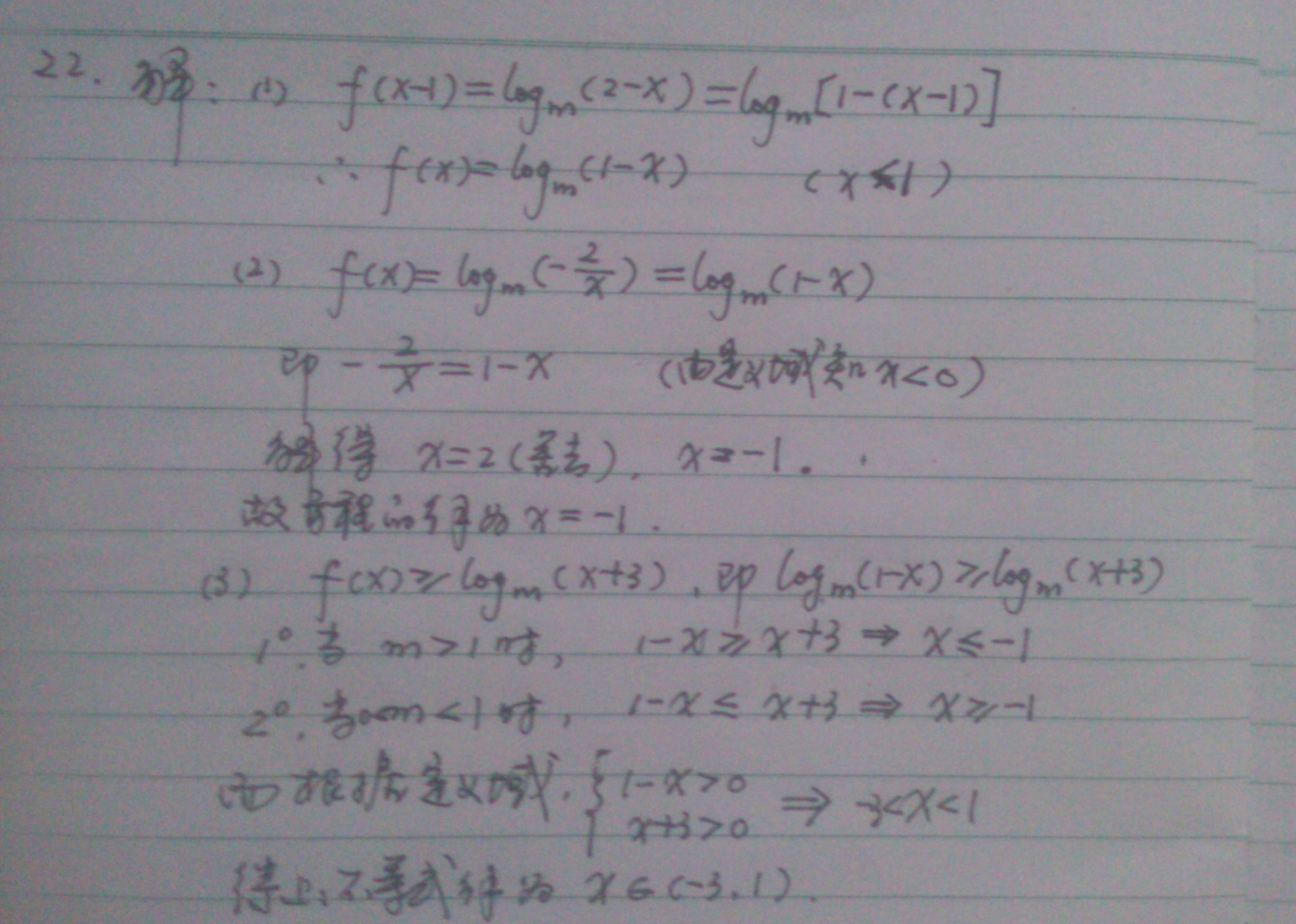 logm��a�Y��i�����_(1)f(x)=logm(1-x)