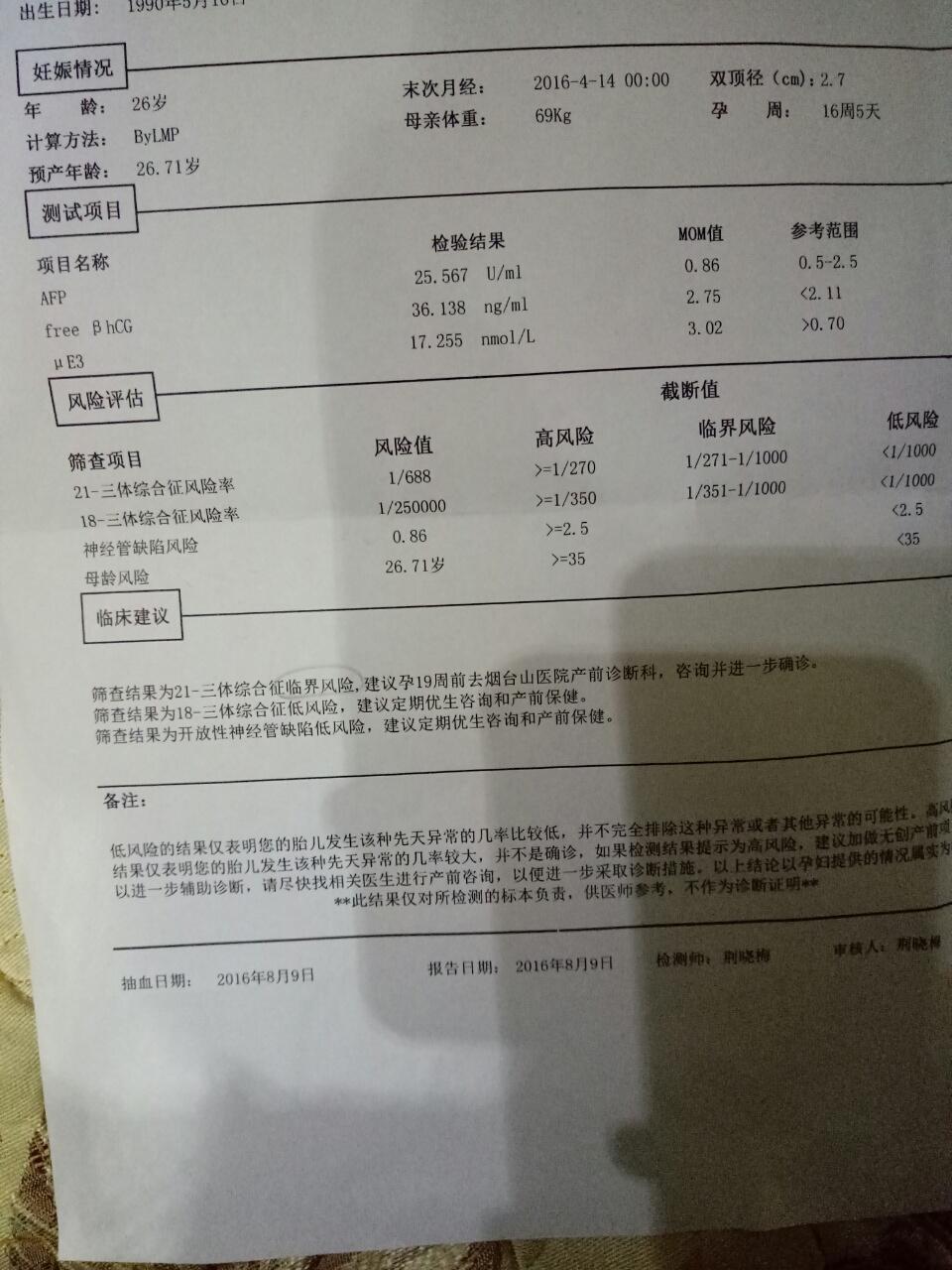 唐氏筛�Lzhny�+K�K��_唐氏筛查报告测试项目第二项大于2.11,我的是2.