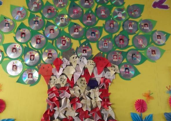 幼儿园主题墙光碟树装饰图片
