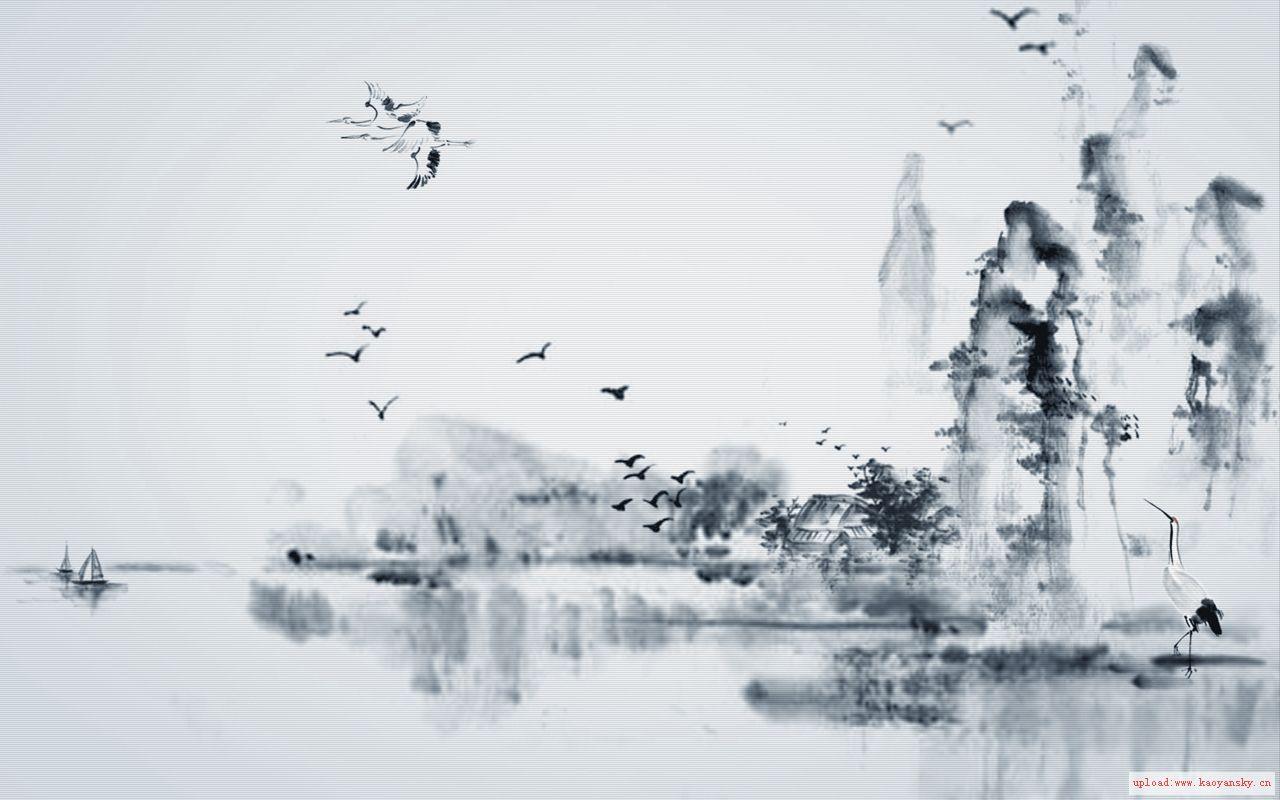 求中国风壁纸,1080的,国画山水风景小桥流水……只要有中国元素就好