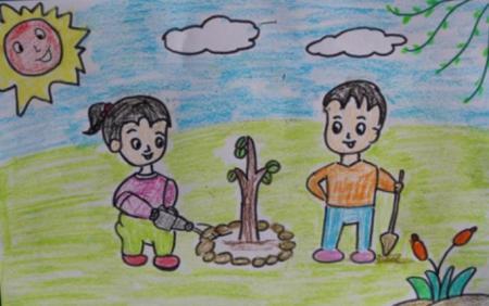小学 环保 图画怎么画?图片