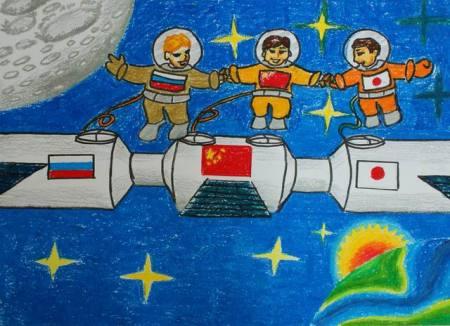 小学六年级太空科幻画三幅,12月13号交画.急急急;快快快图片