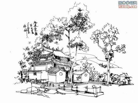 建筑素描简单铅笔画图片
