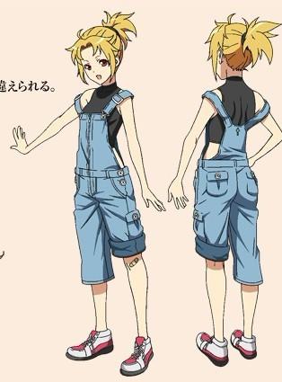 动漫穿背带裤的短发少女