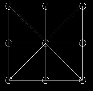 将9个棋子摆成8行,使每行都用3个图片