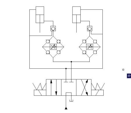 活塞缩回为进油节流调速,调节调速阀的开度,可使两液压缸保持同步图片
