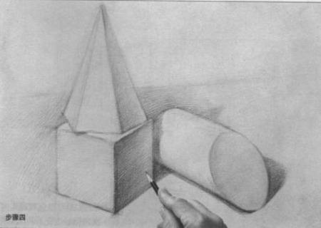 铅笔画石膏几何体素描图片步骤四:明暗交界线图片