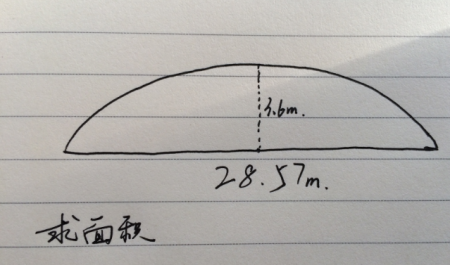 57米,弦中点到弧中点的距离为3.6米,求弧形面积图片