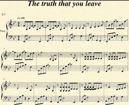 求《the truth that you leave》 带指法的钢琴谱图片