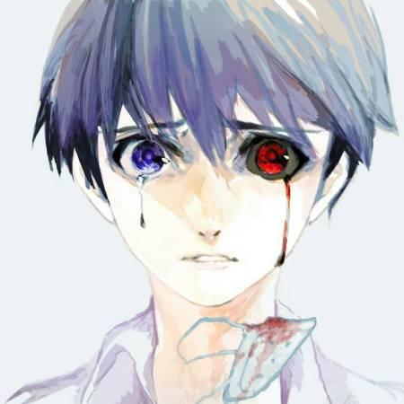 就是金木研右眼流泪,左赫眼流血的原图,谢谢≥﹏≤