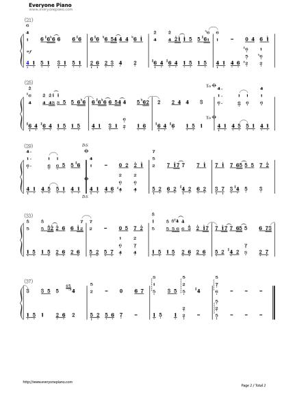 求童话钢琴曲双手简谱图片
