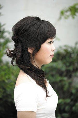 中短头发,没刘海,长脸,直发,学生,怎么扎好看?图片