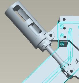 气缸本身也是绕轴运动的,活塞带动推杆,推杆往复运动,推杆前带动摇臂图片
