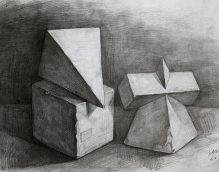 素描长方体投影怎么画图片