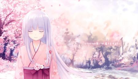 最好是紫头发的女生,校园风格,还有一些樱花!5张图片