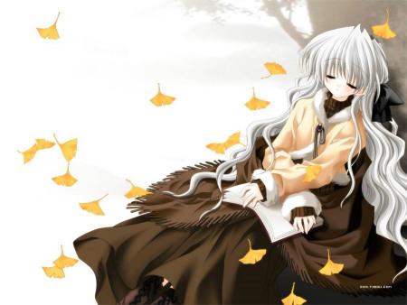 坐在树下看书的动漫女孩图片图片