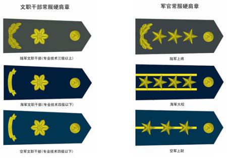 同问 请问部队里面文职干部的军衔和肩章各是什么样式图片