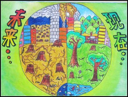 保护绿色关爱地球的绘画作品图片