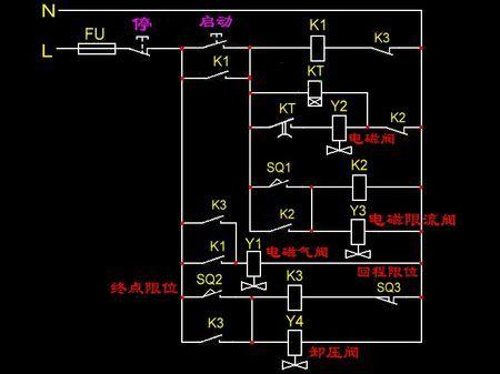 用一个中间继电器两个行程开关怎样去控制电机的正反转!图片