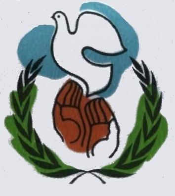 是用稻穗围绕着双手放飞一只鸽子的图案,它象征着和平,友谊,五谷丰登.