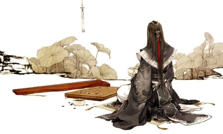 求一张古风手绘图,一个白衣男子在弹琴或下棋图片
