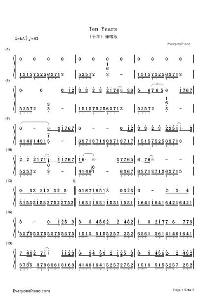 求 十年 的左右手钢琴简谱图片