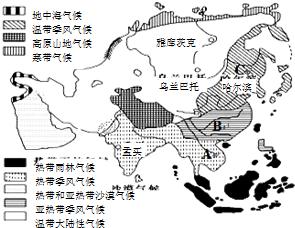 亚洲地形囹�b���_亚洲是世界典型的季风气候区,影响图中a,b,c三种季风气候分布差