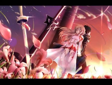 求刀剑神域第一季 op里 桐人和亚丝娜的剑 插在一起的