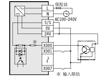 为什么三菱PLCFX3U的输入接线图,3线NPN 漏型中,X0的接线和其