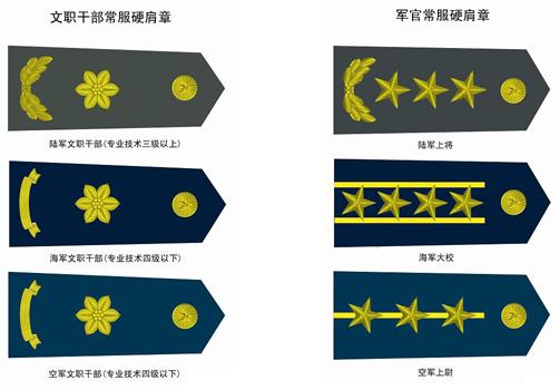 请问部队里面文职干部的军衔和肩章各是什么样式图片