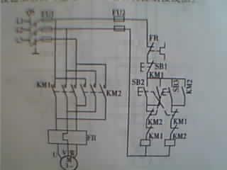 求220V接触器双重互锁正反转实物接线图