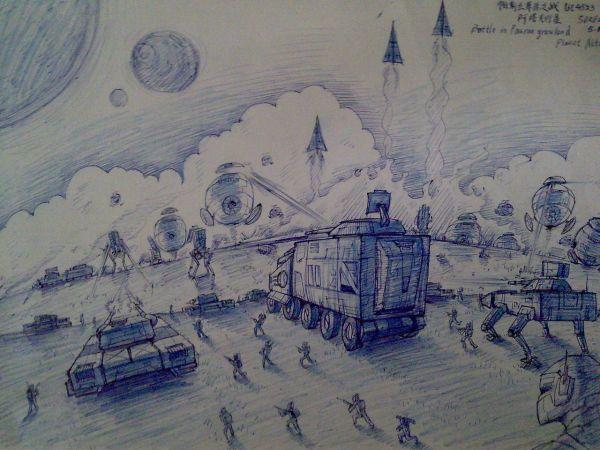 中学生科幻画之未来宇宙,要图片,素描的最好
