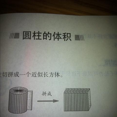 一个圆柱体按上图方法切拼成的长方体底面的宽是三厘米 高八厘米,图片