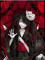 ... 着红伞头发上带着狗面具眼睛红色的女动漫人物是谁