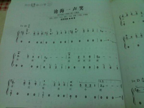 有苍海一声笑的古筝谱,要完整的指法简单点的