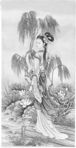 古代美女图片素描画