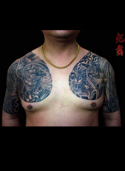四大天王纹身板甲分享展示图片