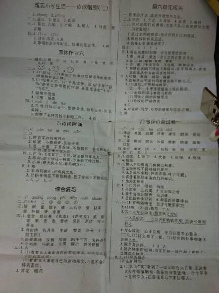 谁有2008年小学六年级期中考试试卷答案(语文数学英语图片