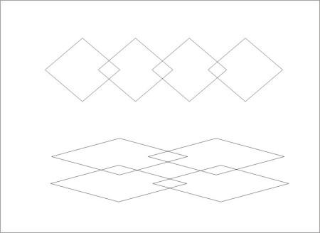 设计一个由一条对角线在同一条直线上的四个菱形交叉组成的花边图案图片
