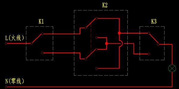 单开双控开关接线图 双开双控开关接线图 单灯双控开关接线图图片